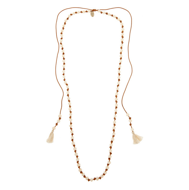 CHAN LUU Tasseled suede and pearl necklace