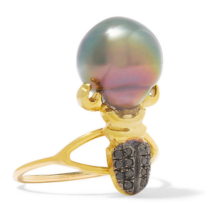 DANIELA VILLEGAS 18K gold, pearl and diamond phalanx ring