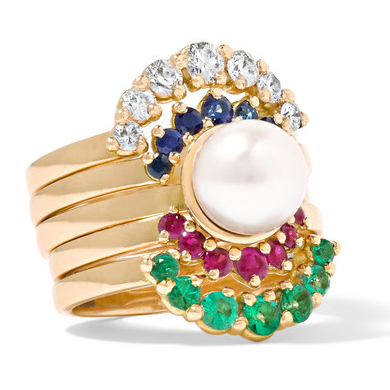 YVONNE LÉON Set of five 18K gold multi-stone rings