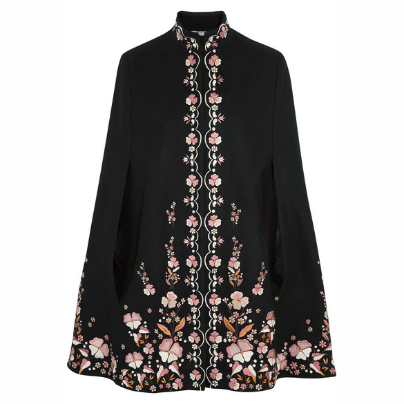 VILSHENKO Embroidered wool-blend cape