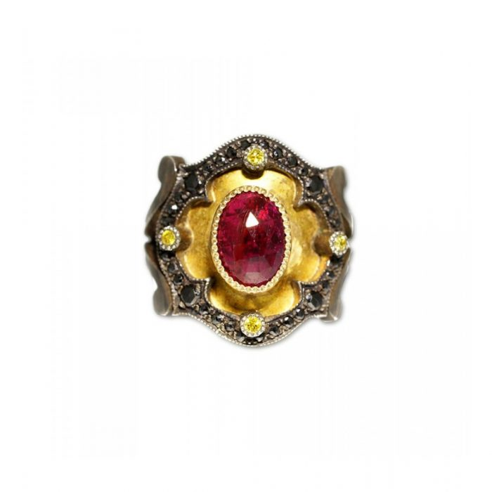 Metal Couture Ring With Ruby