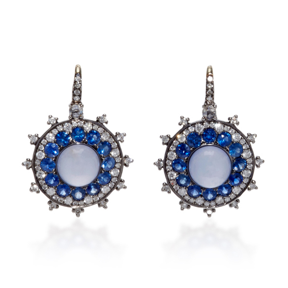 Nam Cho Chalcedony Blue Sapphire Earrings