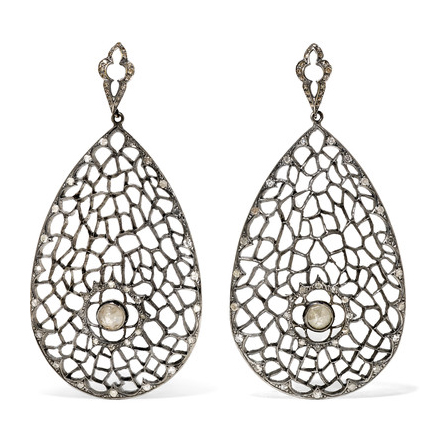 Loree Rodkin Rhodium Diamond Earrings