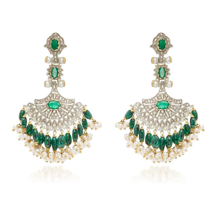 Sanjay Kasliwal Emerald Chandelier Earrings