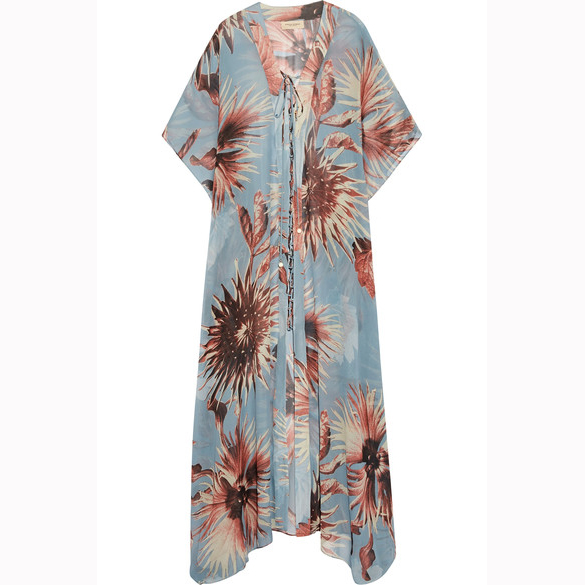 ADRIANA DEGREAS Printed silk-georgette kaftan