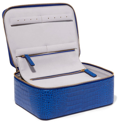 SMYTHSON Mara croc-effect leather jewelry case