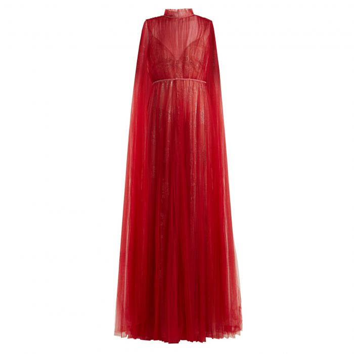 Valentino Sleeveless Tulle-Overlay And Lace Gown