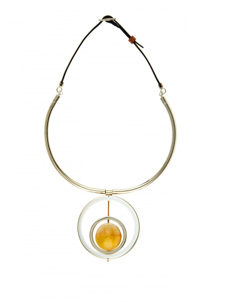 MARNI Horn and leather necklace