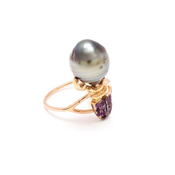 DANIELA VILLEGAS 18K Pink Gold, Amethyst and Pearl Ring £1,525