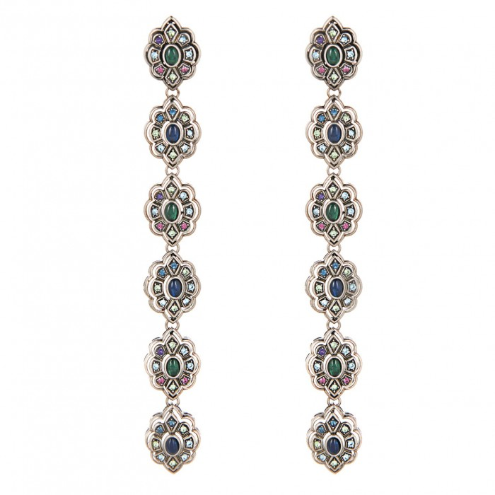 GUCCI Crystal and palladium-plated earrings