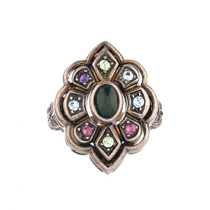 GUCCI Crystal and palladium-plated ring