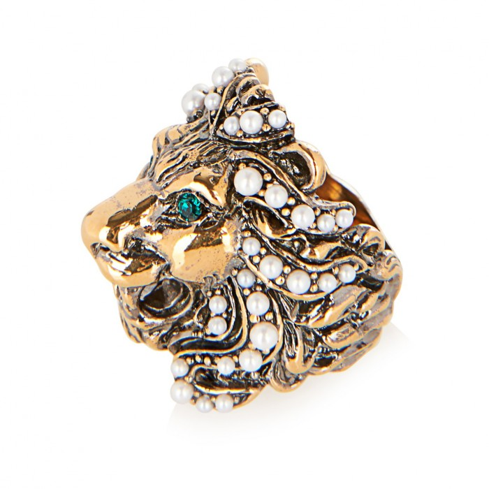 GUCCI Crystal and pearl-embellished lion ring