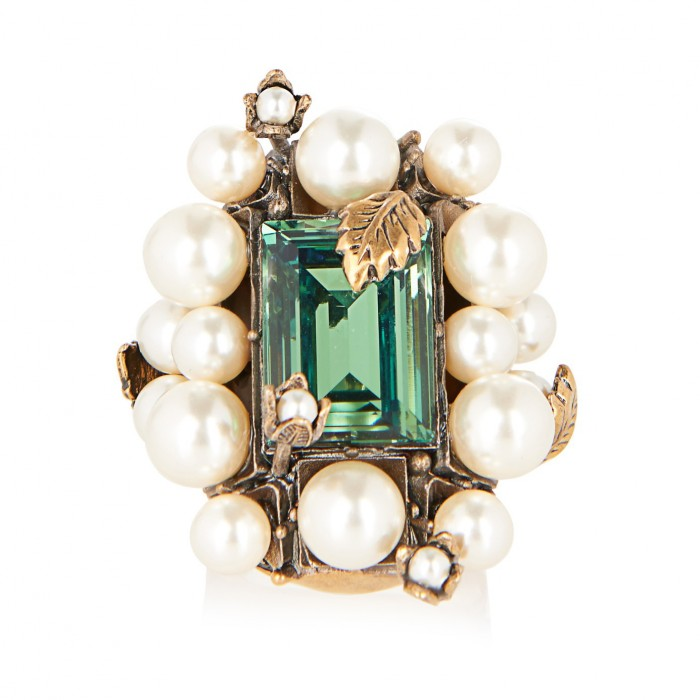 GUCCI Crystal and pearl flowering ring