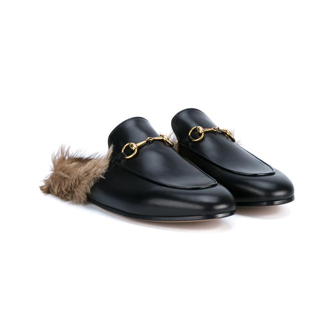 GUCCI Leather and Kangaroo Fur Slippers