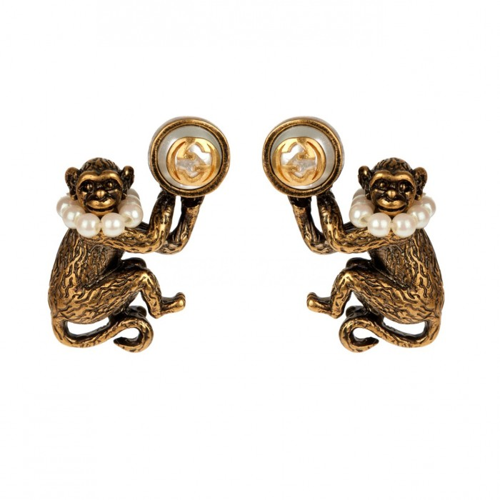GUCCI Monkey brass and glass-pearl earrings