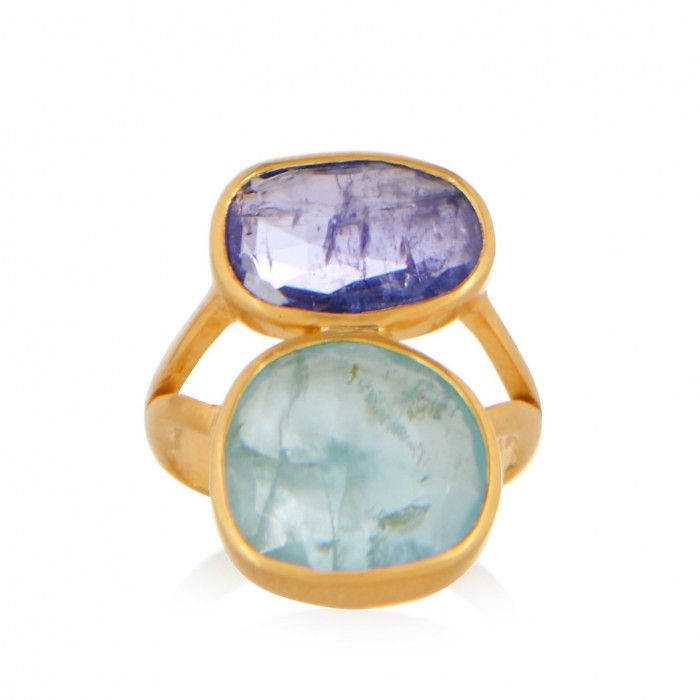 PIPPA SMALL Amethyst, aquamarine & yellow-gold ring