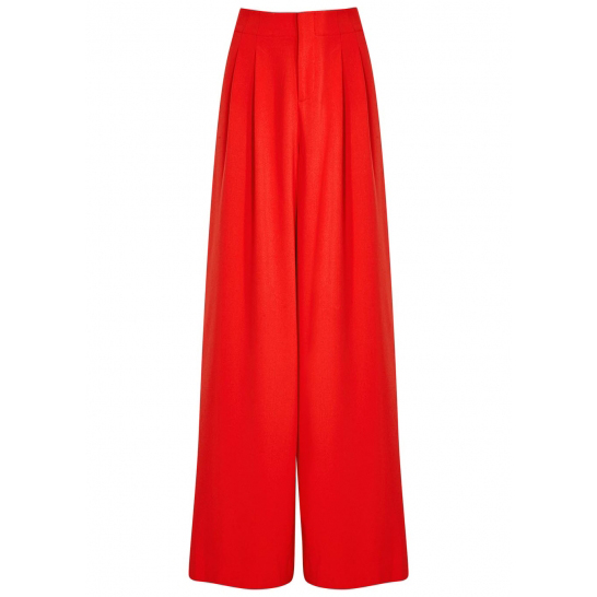 ALICE + OLIVIA Eloise red wide-leg crepe trousers