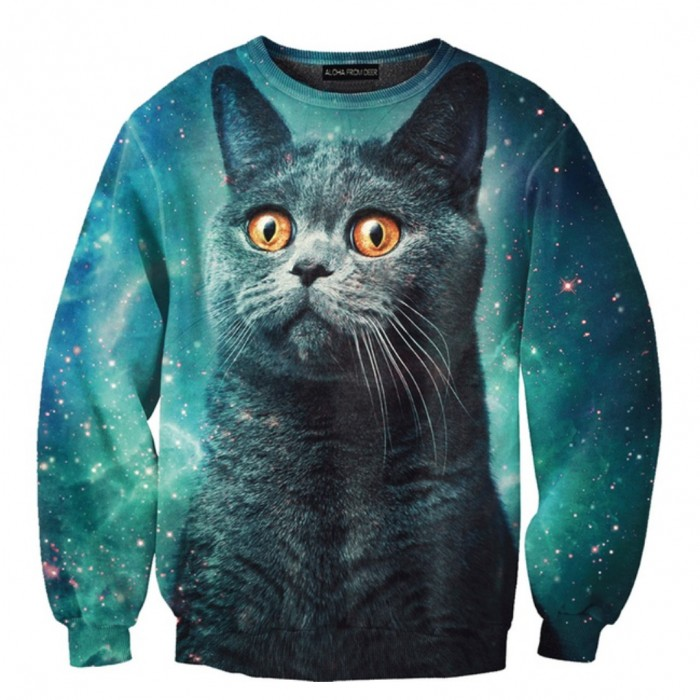 ALOHA FROM DEER Blue Cat Sweater
