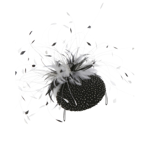 EMILY LONDON Black & White Pillbox Hat