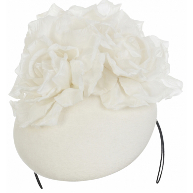 EMILY LONDON White Pillbox Hat