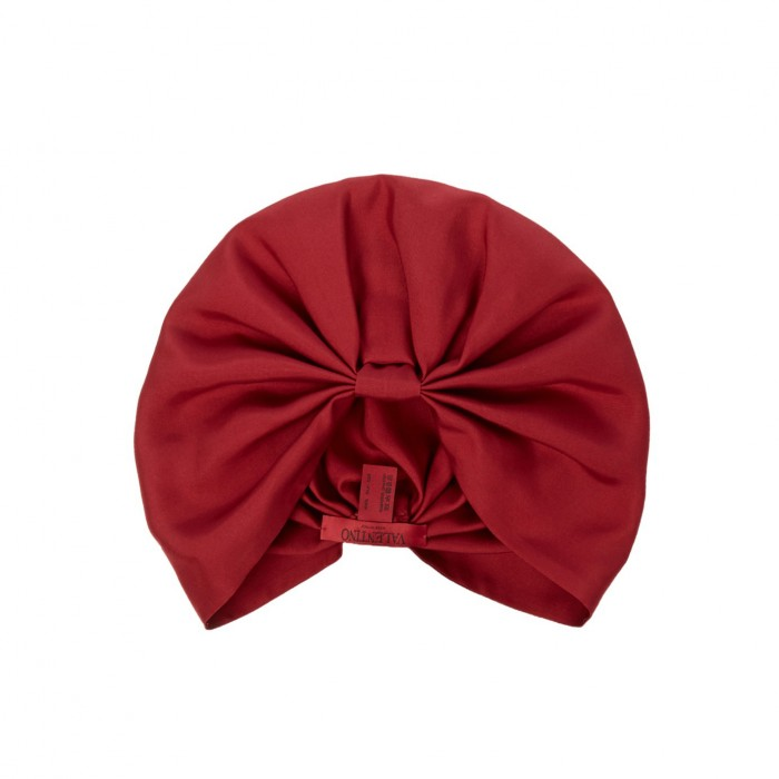 VALENTINO Pleated silk-twill turban hat