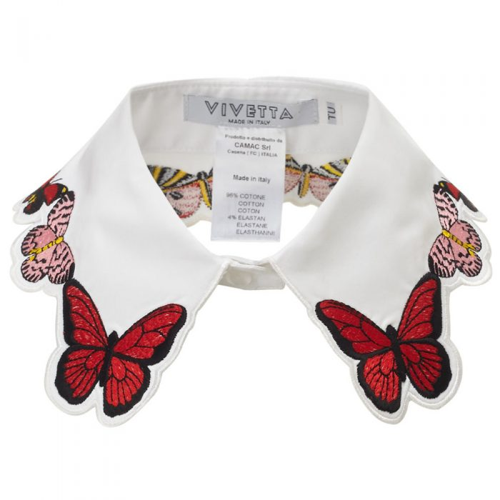 VIVETTA White Embroidered Fauna Collar