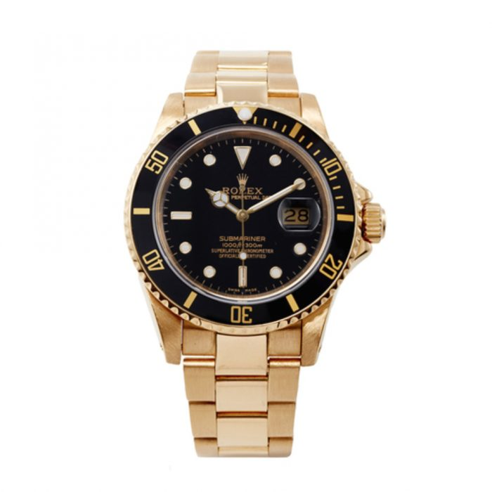 ROLEX 18K Yellow Gold Black Submariner
