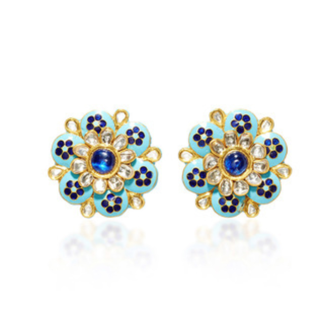 AMRAPALI 18K Gold Enamel Diamond Earrings