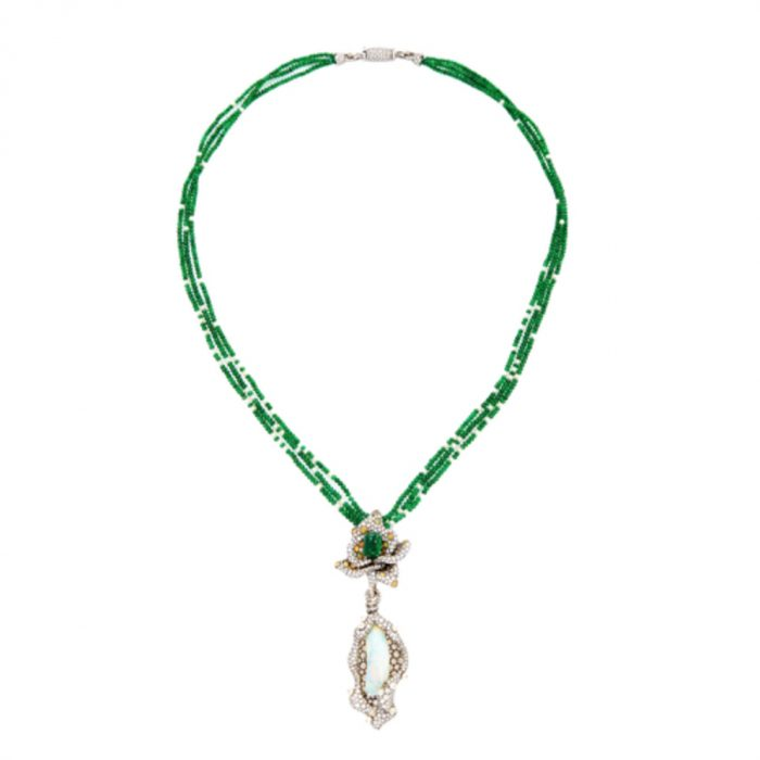 ARUNASHI 18K Gold Emerald Necklace