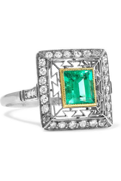 FRED LEIGHTON 1920s platinum, emerald and diamond ring