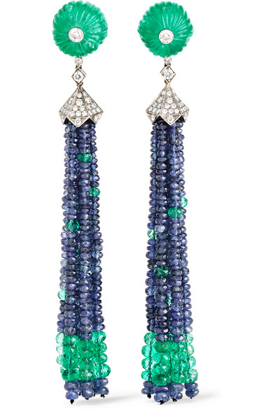 FRED LEIGHTON Collection 18K emerald, sapphire and diamond earrings