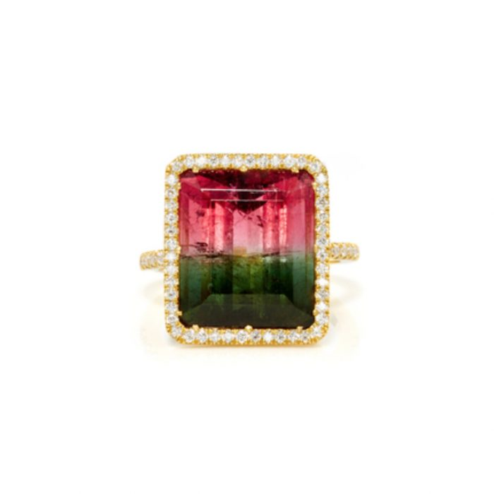 SUZANNE FELSEN 18K Gold Watermelon Tourmaline Ring