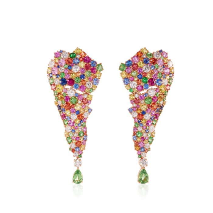 VANLELES 18K Rose Gold Multicolored Earrings
