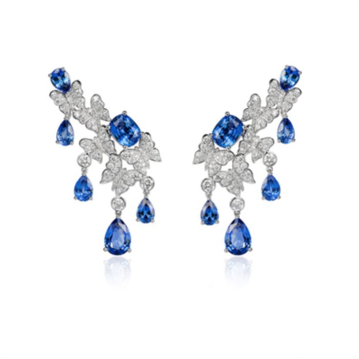 VANLELES 18K Dancing Butterfly Sapphire Earrings