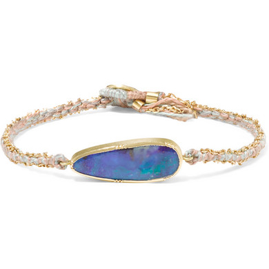 BROOKE GREGSON 18K gold, opal and silk bracelet