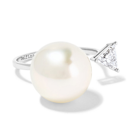 DELFINA DELETTREZ 18K white gold, pearl and diamond ring