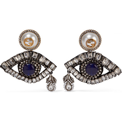GUCCI Swarovski crystal and faux pearl clip earrings