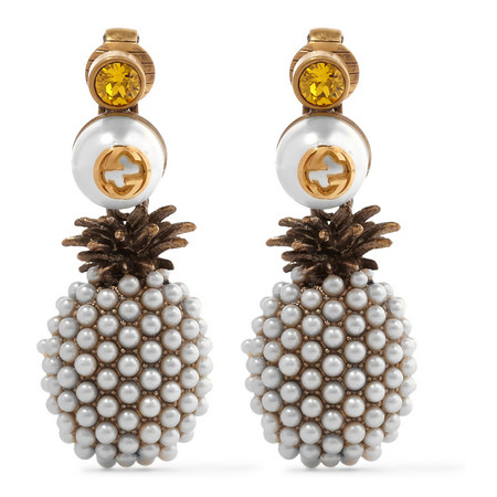 GUCCI faux pearl and crystal clip earrings