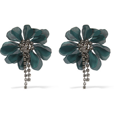 LANVIN Crystal and organza earrings