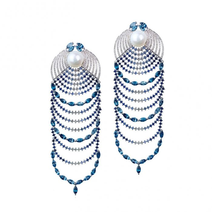 Leyla Abdollahi Ombre Sapphire Diamond Drop Earrings