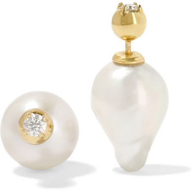 MIZUKI 14K Gold pearl and diamond earrings