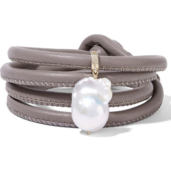 MIZUKI 14K gold, leather and pearl wrap bracelet