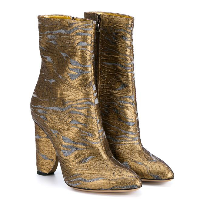DRIES VAN NOTEN Gold Brocade Boot