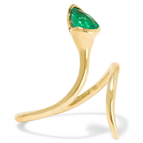 FERNANDO JORGE Sprout Open 18-karat gold, emerald and diamond ring
