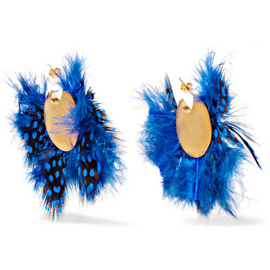 KATERINA MAKRIYIANNI Gold-plated feather earrings