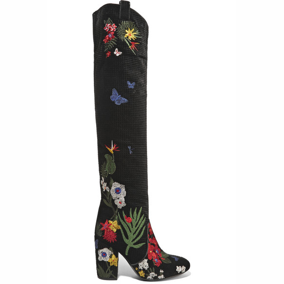 LAURENCE DACADE Silas embroidered velvet boots