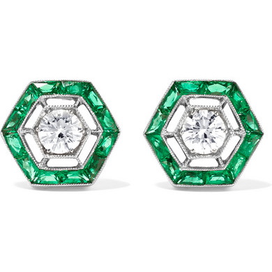 FRED LEIGHTON diamond and emerald earrings
