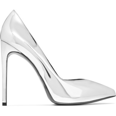 SAINT LAURENT Paris mirrored-leather pumps