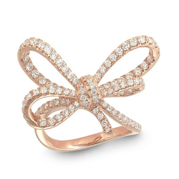 Vanleles Diamonds Lyla's Bow Pink Gold Ring