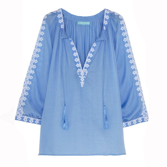 MELISSA ODABASH Anastasia embroidered voile top